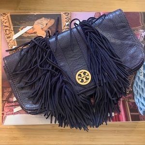 Purple Tory Burch fringe leather clutch purse